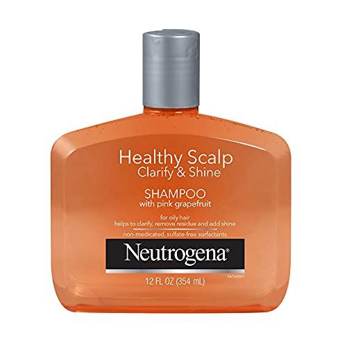 Neutrogena Exfoliating Healthy Scalp Clarify & Shine Shampoo for Oily Hair and Scalp, Anti-Residue Shampoo with Pink Grapefruit, pH-Balanced, Paraben & Phthalate-Free, Color-Safe, 12oz
