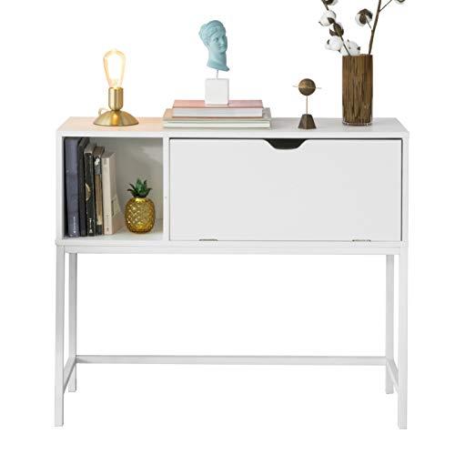 SoBuy FSB21-W Konsolentisch Beistelltisch Flurtisch mit 1 Klappe und Fach Sideboard Weiß BHT ca: 92x80x30cm