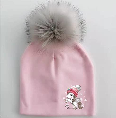 Moda de Invierno Mariposa niños pequeños capó Infantil Gorro de bebé para niños y niñas Gorra de Viaje para bebés y niños-1 Light Pink unicorn-1-1-3 Years
