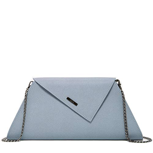 Light Blue Clutch Purses For Women Evening Designer Leather Handbags Elegant Purse and Clutches For Wedding Faded Denim Crossbody Bags with Cross over Chain Strap Ladies Bridal Handbag For Party
