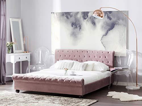 Beliani Stilvolles Bett Polsterbezug Samtstoff Chesterfield Style rosa Avallon