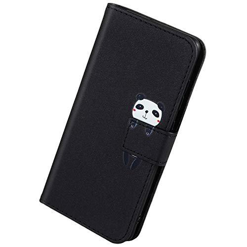 Herbests Kompatibel mit Samsung Galaxy A50 Handyhülle Leder Hülle für Jungs Männer Cute Cartoon 3D Tier Muster Leder Schutzhülle Flip Case Brieftasche Hülle Klapphülle,Panda Schwarz