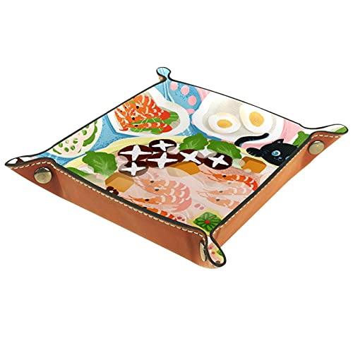 Tablett Leder,Bauerneier Katze Shrimp Lotos Wurzel,Leder Münzen Tablettschlüssel für Schmuck,Telefon,Uhren,Süßigkeiten,Catchall-Tablett für Männer & Frauen Großes Geschenk