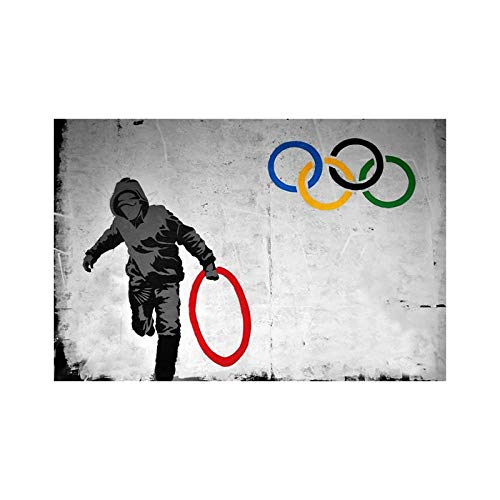 Banksy Wall Art Hold Olympics Ring Graffiti Poster And Prints Abstract Canvas Painting Living Room Home Graffiti Picture Decor 40x60cmx1 No Frame