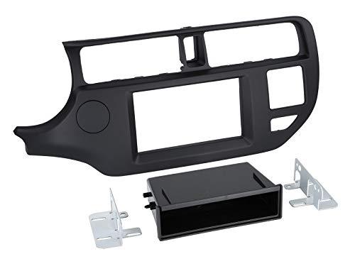 Adaptateur de façade 2-DIN avec vide poche Kia Rio 09/2011-> > noir