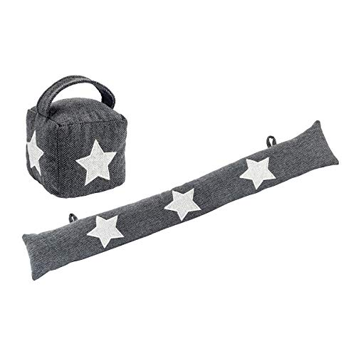 Nicola Spring Fabric Door Stop with Draught Excluder Cushion - Star - Decorative Stoppers for Home, Office - Grey - Set of 2