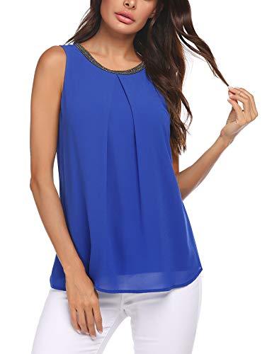 FINEJO Damen Sommer Ärmellose Sexy Tank Tops Elegant Oberteile Damen V-Ausschnitt T Shirt Weste Knopf Blusen, blau, XL