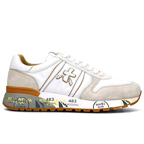 Sneakers Hombres PREMIATA Lander 5199 Gamuza Tejido Beige Blanco