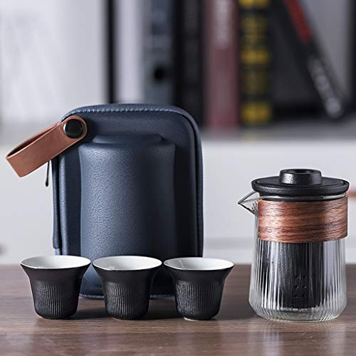 SHYOD Juego de té de Viaje Conjuntos de Utensilios de té portátil de cerámica con Cajas de Carrer Tetera con pequeño Filtro de Vidrio Flores de té de té