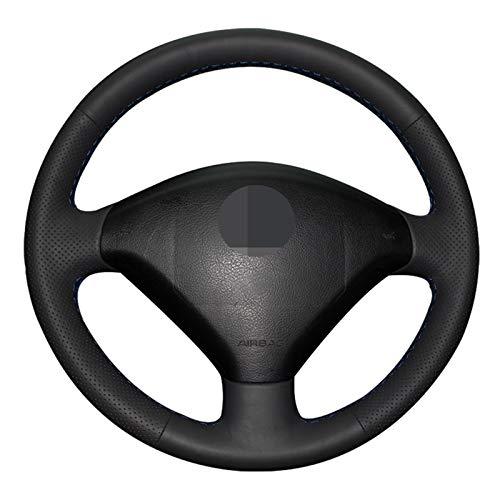 QOMFNG Cubierta de Volante de Coche DIY, Cubiertas de Volante de Cuero Artificial Negro Cosidas a Mano, para Peugeot 307...