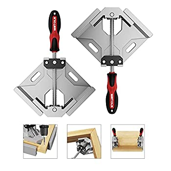 Woodworking Tools WETOLS Corner Clamp 2pcs - 90 Degree Right Angle Clamp - Single Handle Corner Clamp with Adjustable Swing Jaw Aluminum Alloy Photo Framing Welding and Framing - WE706