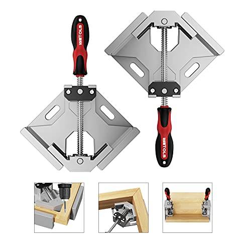 Woodworking Tools, WETOLS Corner Clamp 2pcs - 90 Degree Right Angle Clamp - Single Handle Corner Clamp with Adjustable Swing Jaw Aluminum Alloy, Photo Framing, Welding and Framing - WE706
