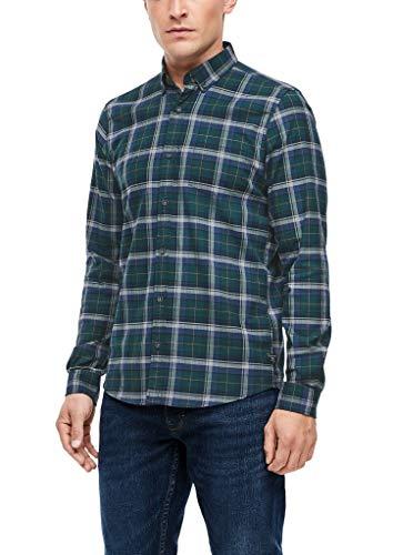 s.Oliver Herren Slim: Hemd mit Karomuster Dark Green Check M