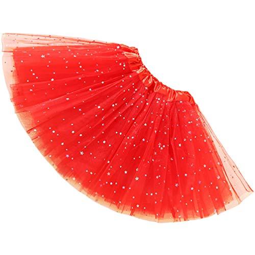 Reciy Gonna per Tutu in Tulle Elastico a 3 Strati per Adulti (Red, One Size)