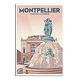 Vintage Poster Reise Montpellier Schlafzimmer Deko Poster