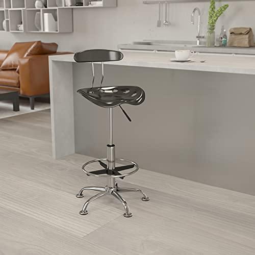 Flash Furniture Sgabello da Disegno con Seduta Stile Mezzadro, Nero Lucido e Cromo