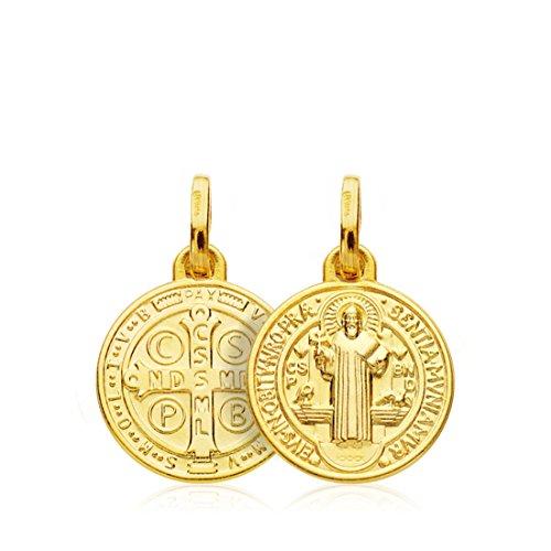 Medaglia ciondolo San Benedetto Oro Giallo 18 ct 14 mm Charm pendant Scapolare croce cattolica