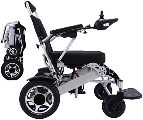 2020 Lightweight Fold Foldable Portable Electric Wheelchair Deluxe Powerful Dual Motor Compact Mobility Aid Wheel Chair - Weighs only 59 lbs with Battery - Supports 286 lbs