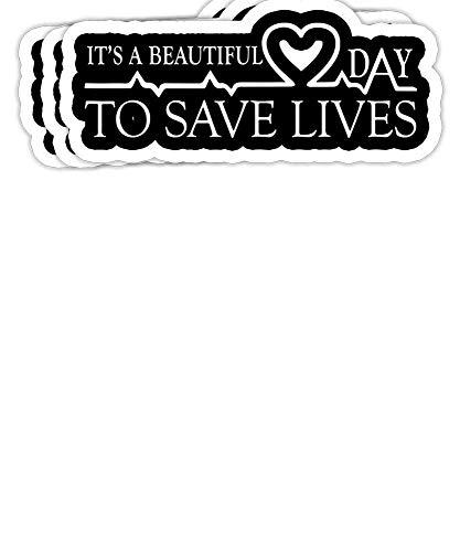 DKISEE - Pegatinas para parachoques (3 unidades), diseño de texto 'It's a Beautiful Day to Save Lives'