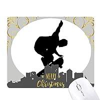 スポーツ選手のジャンプのスケートボード クリスマスイブのゴムマウスパッド