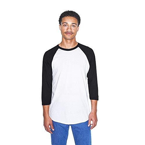 American Apparel Men's 50/50 Raglan 3/4 Sleeve T-Shirt, 2-Pack, White/Black, Large