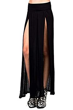 Vivicastle Sexy High Waisted Double Slits Open Knit Long Maxi Skirt  Large Black