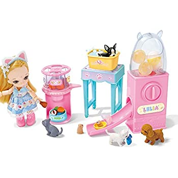Lelia Pet Boutique Playset with 6 Pets Hamster Slide Grooming Feature and Accessories Feeding Feetures with Smart Feeding Machine Dolls' Pet Daycare Playset Great Gift for 3 to 7 Year Olds
