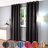 Gräfenstayn cortina térmica y opaca Alana, cortina con ojales, aprox. 135x 245cm, tela, negro, 135 x 245