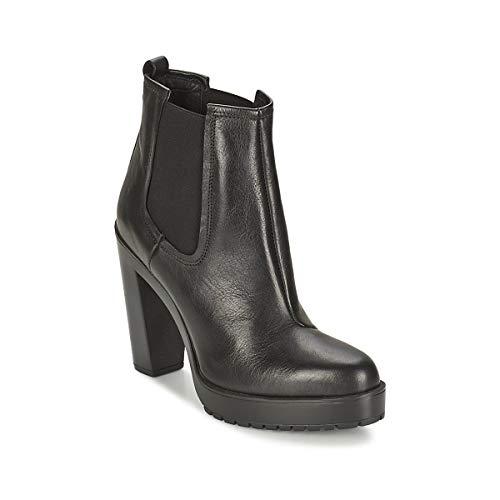 Diesel Damen Boots Stiefeletten Charon Schwarz Echtleder (EUR 40, Schwarz)