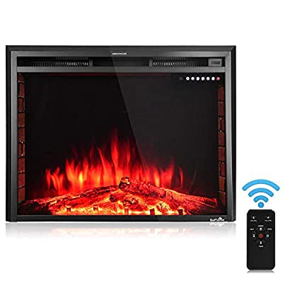 "Thaweesuk Shop Black 36'' 750W-1500W Fireplace Heater Electric Embedded Insert Timer Flame Remote Metal, Tempered Glass, Resin Charcoal 36""x9""x27"" (LxWxH) of Set"