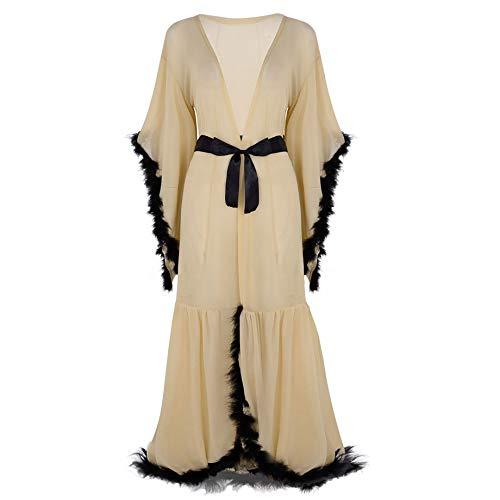 CHICTRY Damen Transparent Nachthemd Trompetenärmel Bademantel Negligee Satin Nachtkleid mit Gürtel Nachtwäsche Sleepwear Khaki One Size
