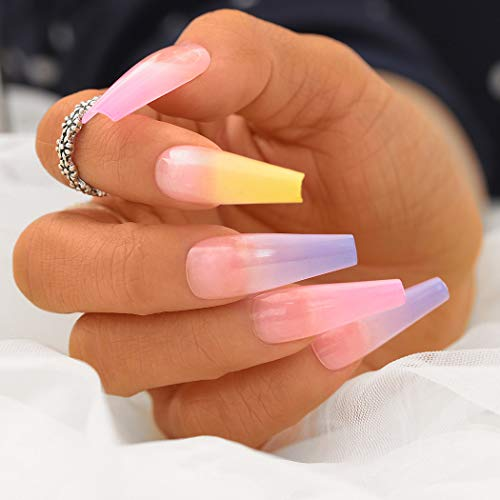 Sethexy Glänzend Ballerina Lange Falscher Nagel Sarg Bunt Falsche Fingernägel 20St Acryl Kunst Drücken Sie auf Nagelspitzen für Frauen und Mädchen