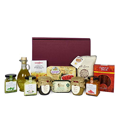 Gourmet Spanish Food Gift Hamper - Paella Mix, Bomba Rice, Olive Pate, Olive Oil, Peppers Stuffed with Salmon, Mussels, Sardines & more - Luxury Birthday Fathers Day Gifts & Hampers Presents for Men Women