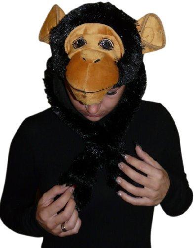 Ikumaal Affen-Mütze für Kostüm, F76, Schimpanse-n Faschingskostüm, Fasching Karneval Fasnacht, Karnevals-Kostüme Männer u. Frauen, Faschings- Fasnachts- Tier-Kostüme, Geburtstags- Weihnachts-Geschenk