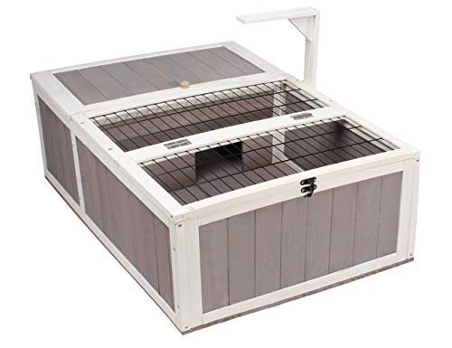 ROCKEVER Wooden Tortoise House Reptile Habitat Indoor/Outdoor, Safe Turtle Box with Wire Grate