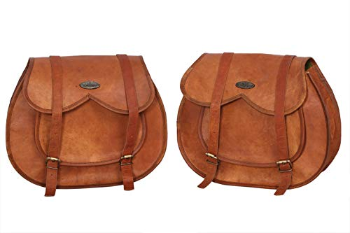 LBH 2 X Motorcycle Side Pouch Brown Leather Side Pouch Saddlebags Saddle Panniers (2 Bags)