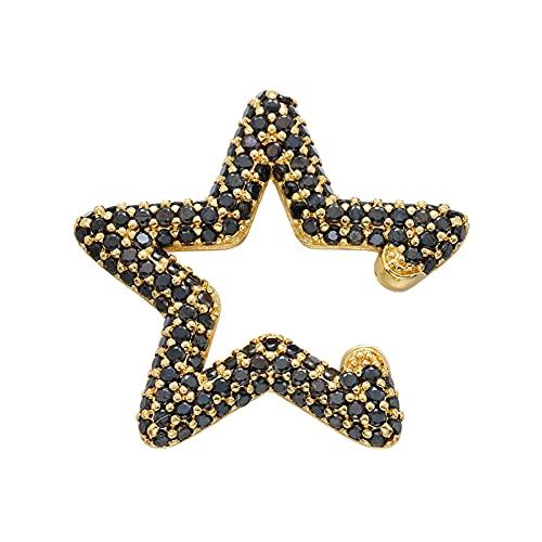 N/A Orejeras de Estrella de Cristal pequeñas AAA Pendientes de Clip de Oreja de circonita cúbica Accesorios de Boda para Mujeres Dorado Negro