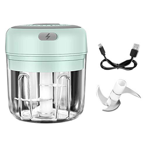 MANTFX Picador De Ajo Eléctrico Portátil, Mini Triturador De Carga USB, Máquina De Alimentos con Pimienta Y Ajo para Cocina Alimentos para Bebés (Verde)