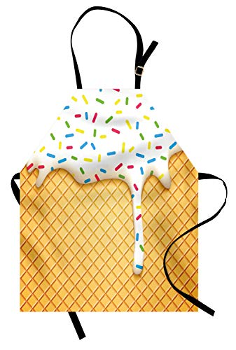 Ambesonne Food Apron, Cartoon Like Image of and Melting Ice Cream Cones Colored Sprinkles Print, Unisex Kitchen Bib with Adjustable Neck for Cooking Gardening, Adult Size, Yellow White