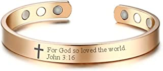 MPRAINBOW Therapy Magnetic Scripture Faith Christian Bible Verse Engraved Inspirational Cross Bangle Bracelet Women