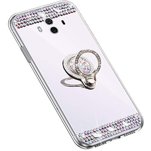 Uposao Kompatibel mit Huawei Mate 10 Hülle mit 360 Grad Ring Ständer Glänzend Glitzer Strass Diamant Transparent TPU Silikon Handyhülle Ultra Dünn Durchsichtig Schutzhülle Case,Silber