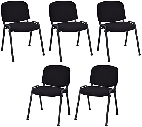 Happygrill 5 Pieces Conference Chair Set Stackable Office Chairs Set Guest Reception Chair for Waiting Room
