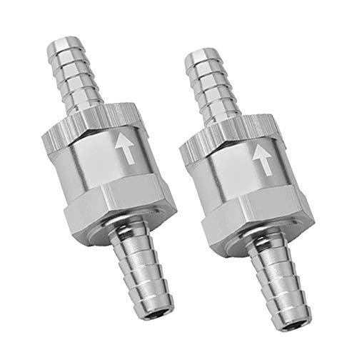 2 PCS 1/4' 6mm Non Return One Way Check Valve for Fuel Line Oil Petrol Diesel Aluminium Silver