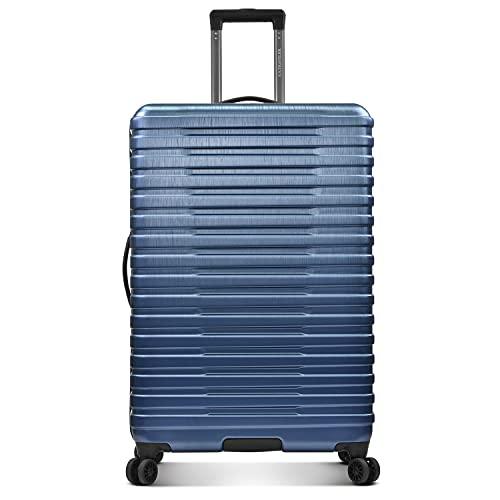 U.S. Traveler Boren Polycarbonate Hardside Rugged Travel Suitcase Luggage with 8 Spinner Wheels, Aluminum Handle, Navy, Checked-Large 30-Inch