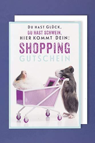 Gutschein Shopping Geburtstag Karte Grußkarte Hamster 16x11cm