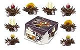 """Variaciones de flores de té de Creano en exclusivo formato par taza """"Té Floreciente Teelini� en set degustación / 8 flores de té en 4 variedades diferentes (té negro)"""
