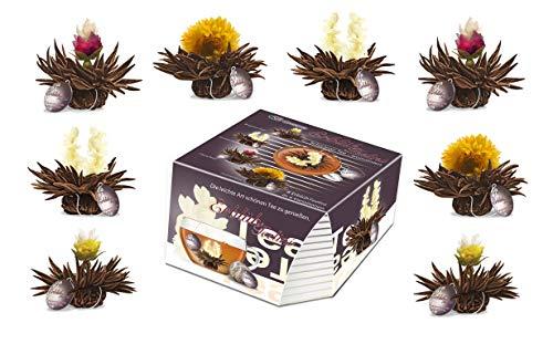 Creano Teeblumen Variation im exklusiven Tassenformat Erblühteelini als Probierset - 8 Teeblüten in 4 verschiedenen Sorten (Schwarzer Tee)
