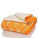 Glart Kuscheldecke Blume des Lebens orange-ecru XL Decke 150x200 cm Sofa, weiche und warme Wolldecke extra flauschig als Sofadecke Couchdecke, kuschel Wohndecke Kuscheldecke, Plüsch Sofaüberwurf Decke