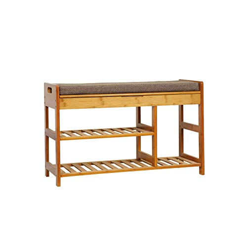 C&AHOME Shoe Rack Bench, Entryway 3-Tier Shoe Organizer, Max Load 270 LBS, Bamboo Storage Shelf with Cushion for Boots, Modern Stool for Bedroom Living Room, 31.5' L x 11.6' W x 19.3' H Brown