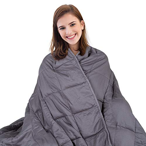 Mayer's Best Weighted Blanket for Adults 15 lbs 48''x72'' | Queen Size | 2.0 Cooling Warming Heavy Blanket | 100% Cotton Material with Glass Beads | Grey